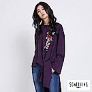 SOMETHING 刺繡花朵不規則下擺長上衣-女-暗紫