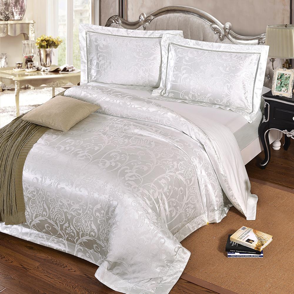 HOYACASA伊斯佰納 特大四件式絲棉緹花被套床包組