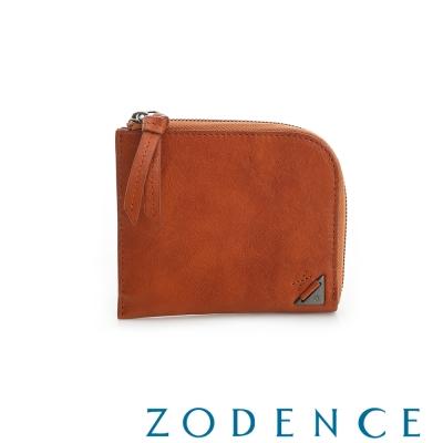 ZODENCE MAN 義大利植鞣革系列斜口設計拉鍊短夾 橘紅