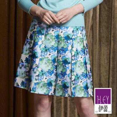 ILEY伊蕾-清新優雅印花摺裙-藍