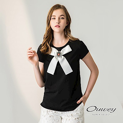OUWEY歐薇 甜美珠飾蝴蝶結圓領上衣(黑)