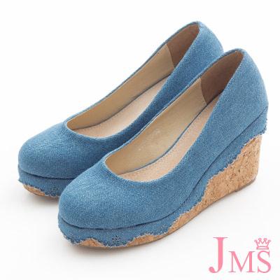 JMS-素面花邊丹寧帆布楔型娃娃鞋-深藍色