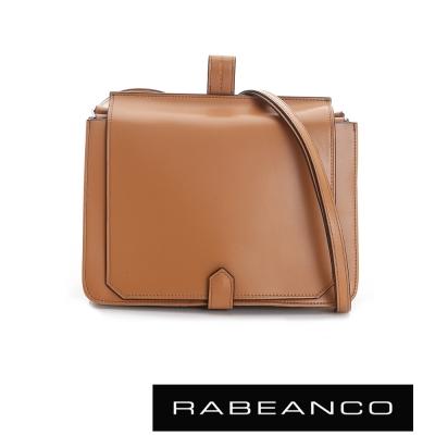 RABEANCO-迷時尚牛皮系列翻蓋方塊斜背包-駝