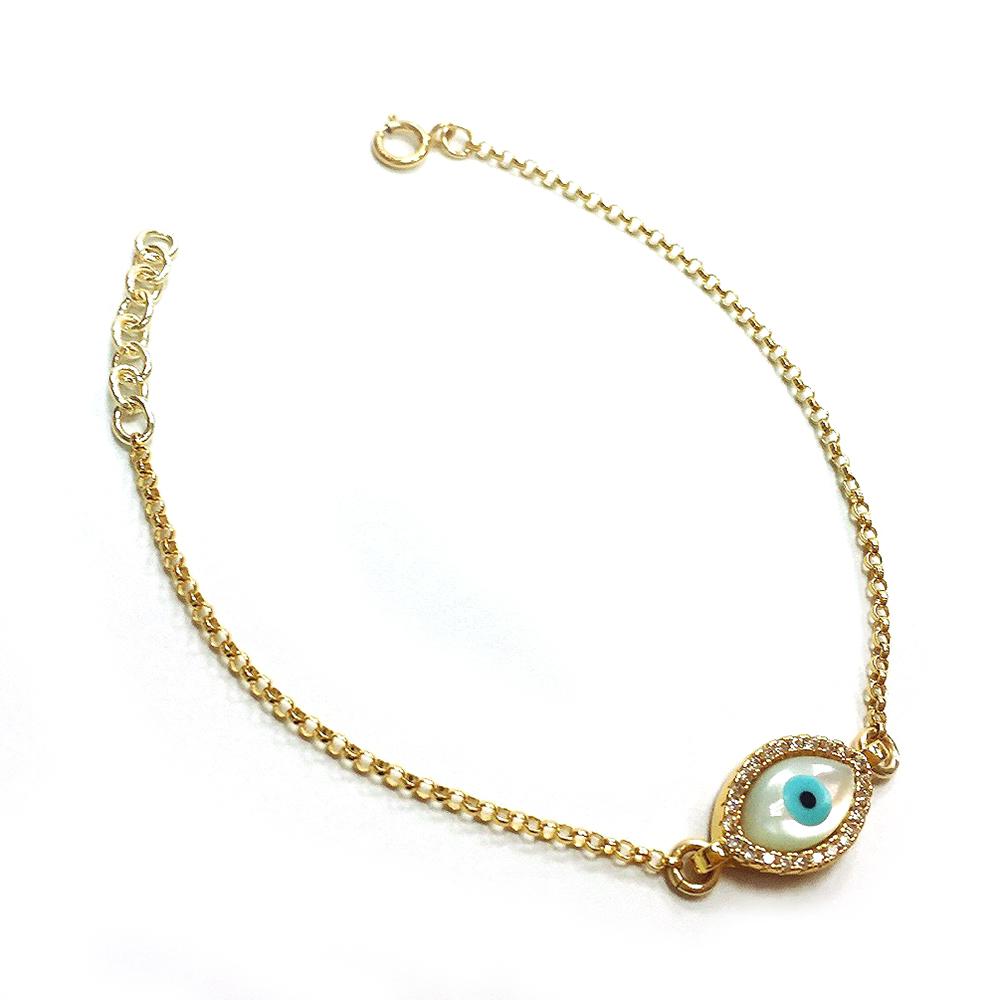 One of a kind 珍珠母貝 智慧之眼 金色手鍊 鑲白鑽 綠松石 橢圓款