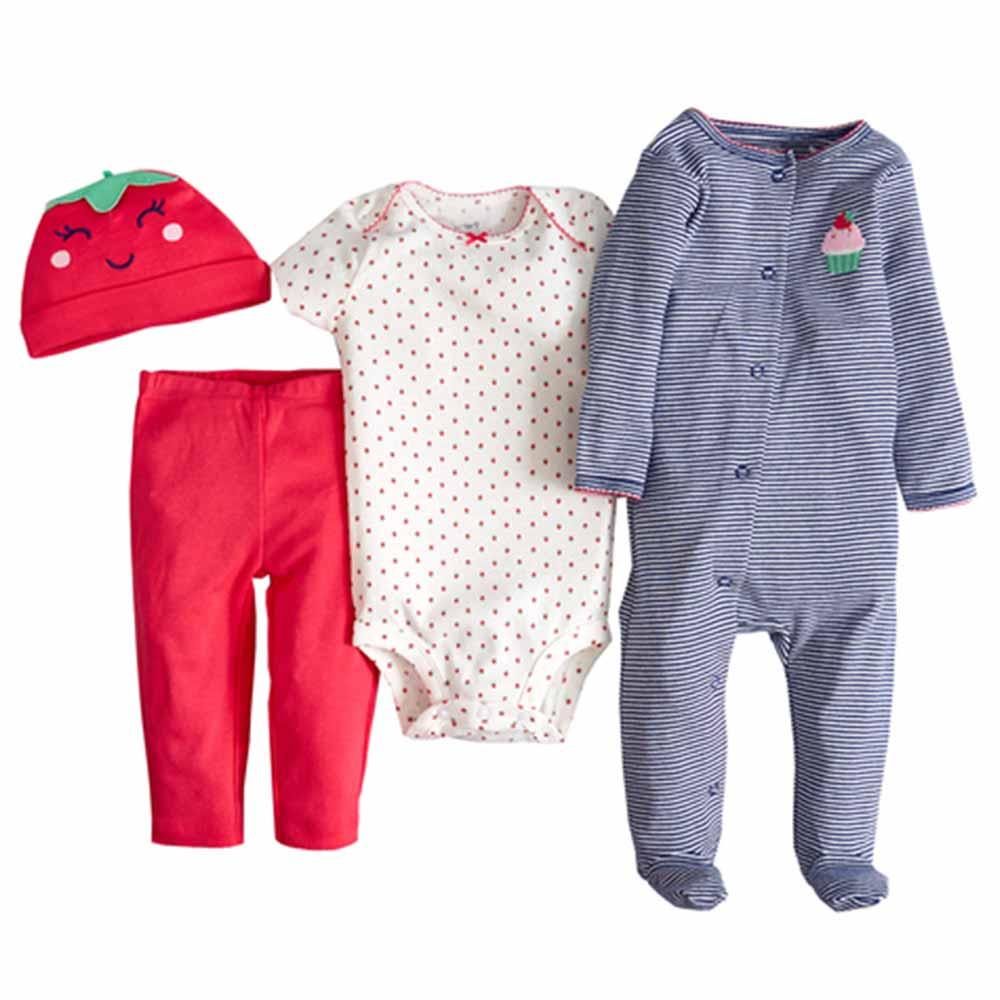 Carters 美國 粉紅草莓長袖連身衣套裝4件組