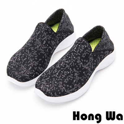 Hong Wa - 懶人運動休閒風格雪花布鞋-黑