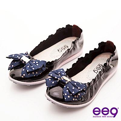 ee9心滿益足-點點蝴蝶結柔軟漆皮束口娃娃鞋-柔媚黑