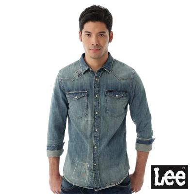 Lee 牛仔長袖百搭刷白Vintage Laundry 襯衫 男款-藍