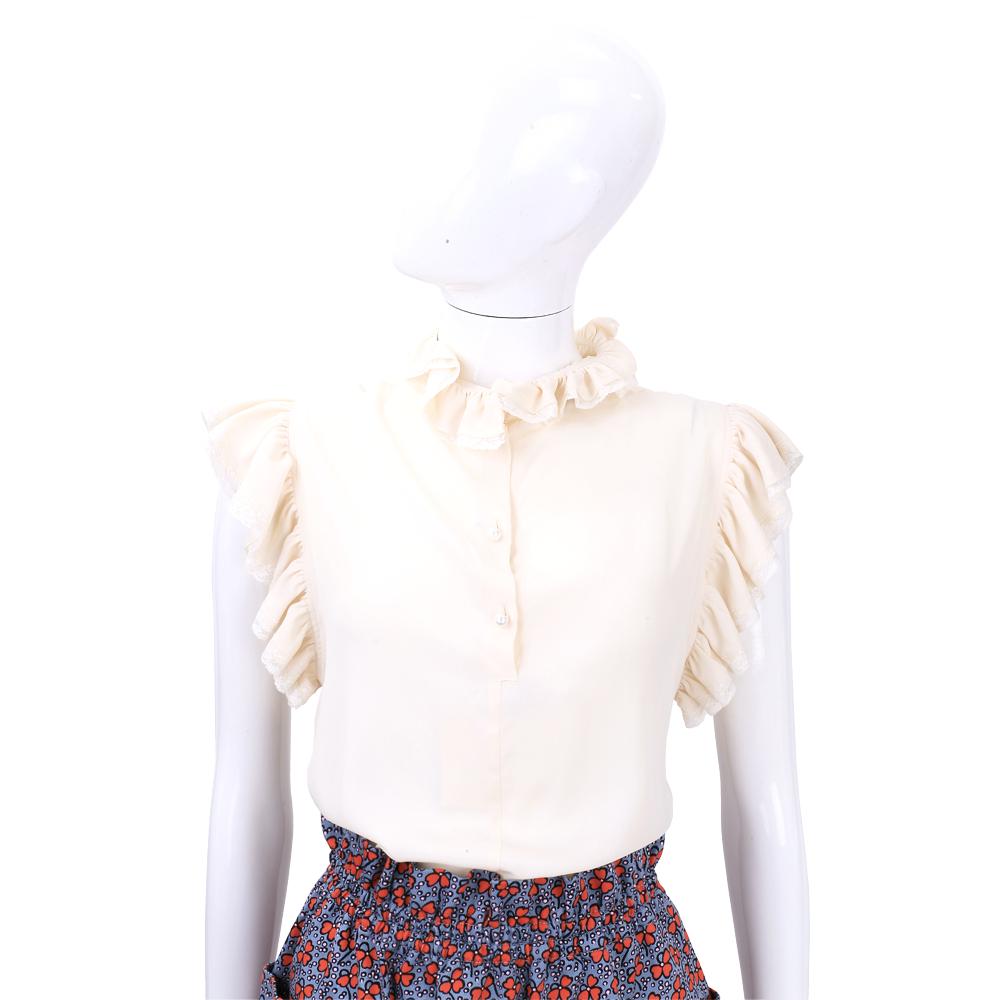 PHILOSOPHY 米白色蕾絲荷葉造型上衣