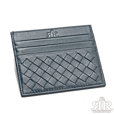 2R 加賀印象Kaga羊皮編織卡片夾 深寶藍