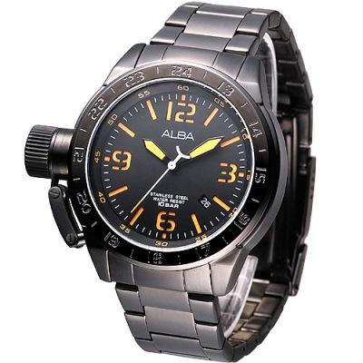 ALBA 魅力IP黑左龍頭系列鋼帶錶(AXHK21X1)-鍍黑x刻度橘/55mm