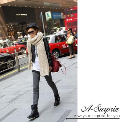 A-Surpriz  純色摟空馬海毛加長厚織圍巾(米白)