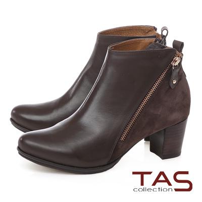 TAS 雙拉鍊麂皮拼接素面高跟短靴-質感咖