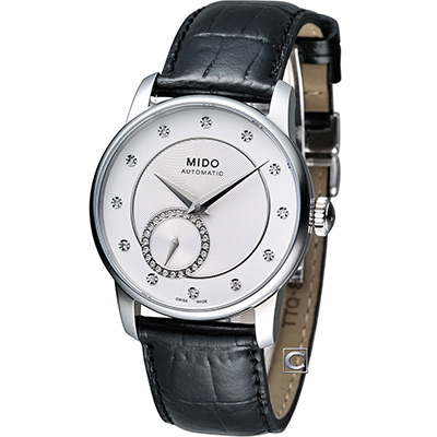 MIDO Baroncelli II 永恆優雅機械皮帶腕錶-銀白/35mm