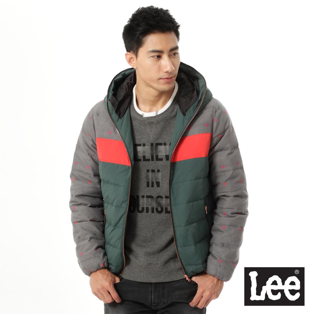 Lee 羽絨外套 連帽拼色緹花-男款-灰綠