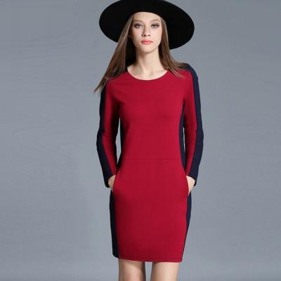 簡約時尚撞色拼接連衣裙-KVOLL