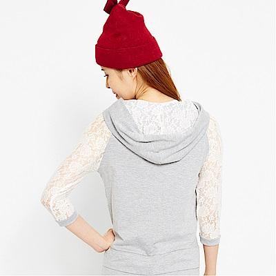 【TOP GIRL】蕾絲甜心女孩連帽七分袖外套-淺麻灰