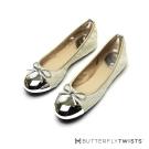 BUTTERFLY TWISTS-編織菱格紋記憶軟墊平底鞋-銀