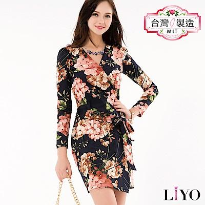 LIYO理優MIT古典印花綁帶洋裝(藍)
