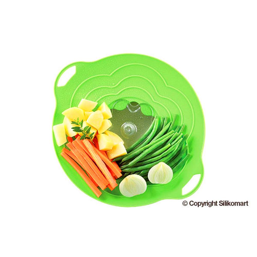 義大利製SiliKoMart專利防漏-聰明蒸煮鍋蓋(L+S)-綠
