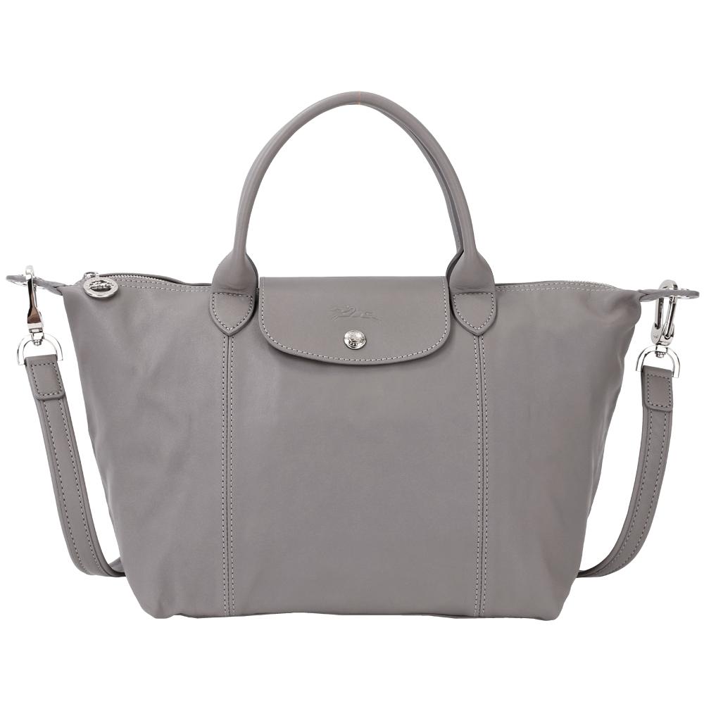 LONGCHAMP Le pliage Cuir 短把皮革摺疊兩用包(小/灰色) @ Y!購物