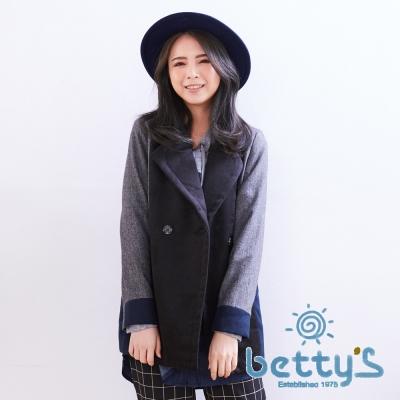 betty's貝蒂思 毛呢拼接大衣(黑色)