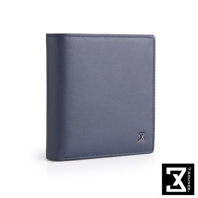 74盎司 Plain 真皮側拉零錢短夾[N-544]藍