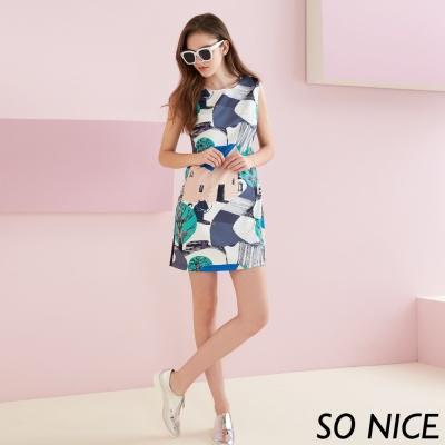 SO NICE時尚抽象印花洋裝