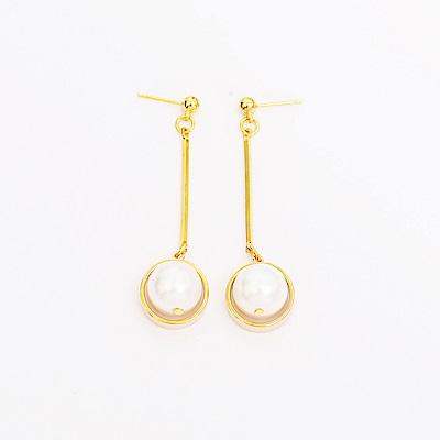 微醺禮物 正韓 鍍K金針 金棍子垂墜 大珍珠 人造珍珠 耳針 耳環