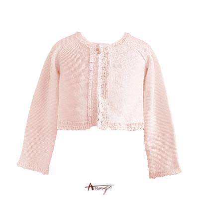 Anny氣質公主金蔥蕾絲領針織小外套*4296粉