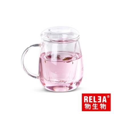 香港RELEA物生物 小蘑菇耐熱玻璃泡茶杯320ml(附濾茶器)