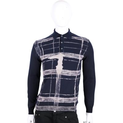 TRUSSARDI-JEANS 深藍色刷漆格紋針織長袖POLO衫