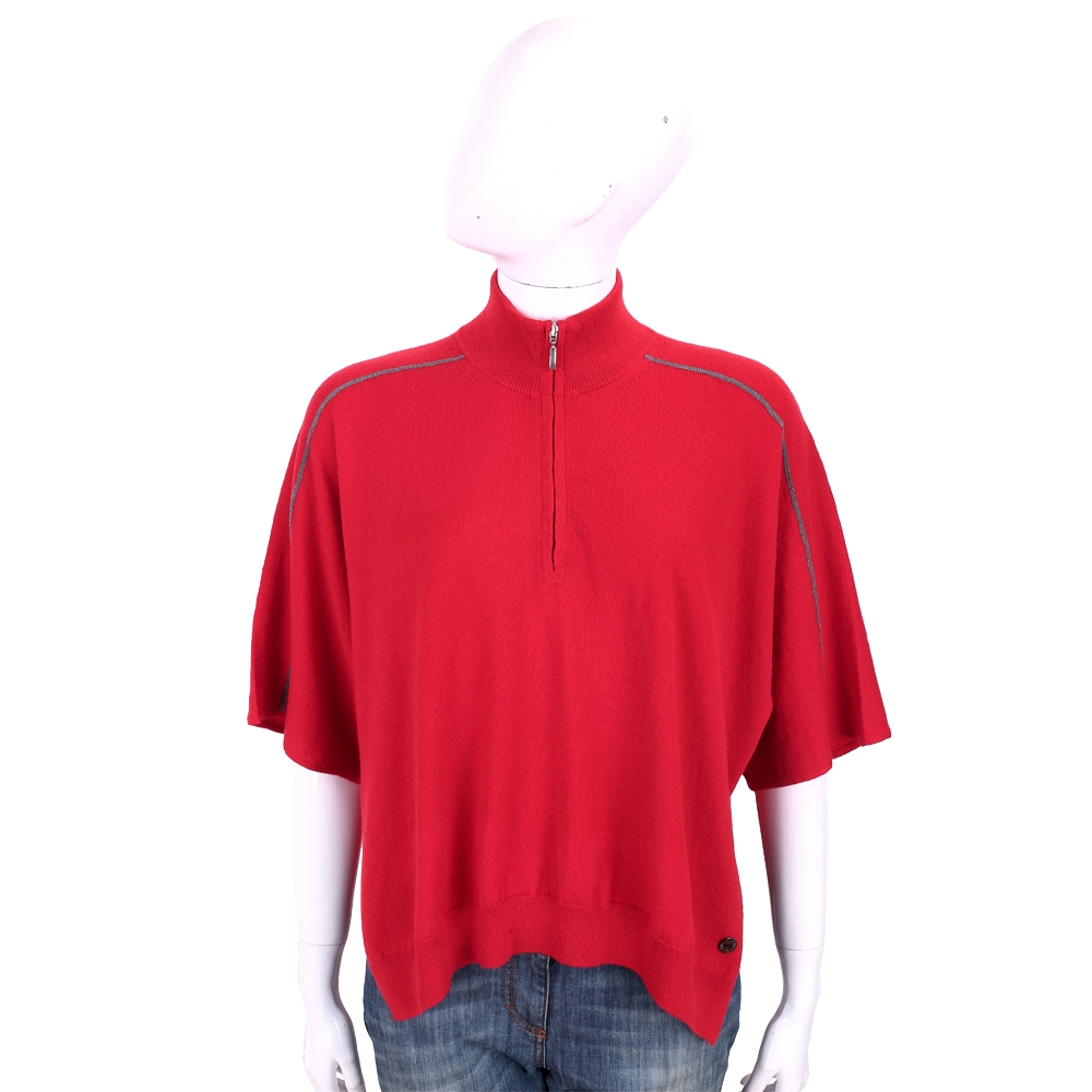 Andre Maurice 100%喀什米爾紅色斗篷式針織羊毛衫