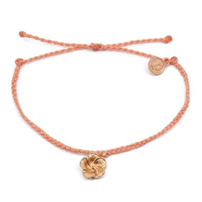 Pura Vida 美國手工 玫瑰金芙蓉 橘色可調式手鍊防水衝浪手繩手鍊