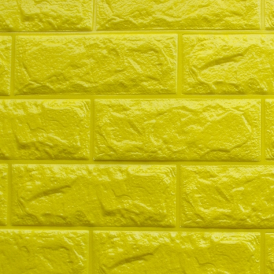 3D立體泡棉磚紋壁貼1片(金黃)