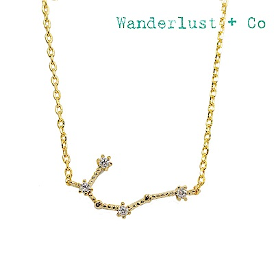 Wanderlust+Co 澳洲時尚品牌 水鑽十二星座系列 雙子座金色項鍊