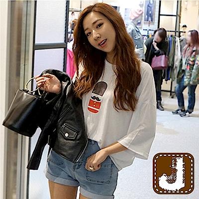 正韓 膠囊小兵燙印寬肩T恤-(共三色)100%Korea Jeans
