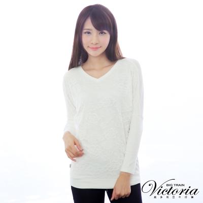 Victoria 蕾絲V領飛鼠袖雙層T-女-白色