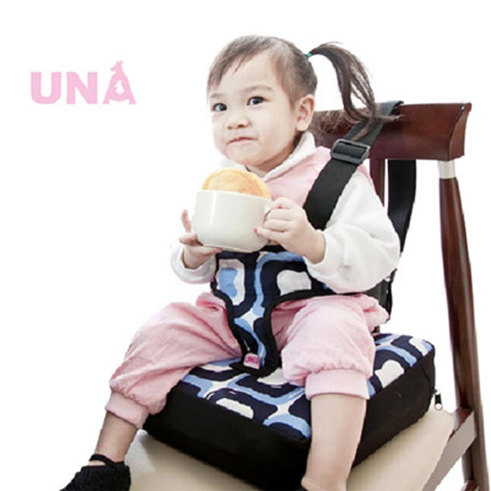 Una兒童餐椅墊/專利自動充氣調節-(藍/桃紅)