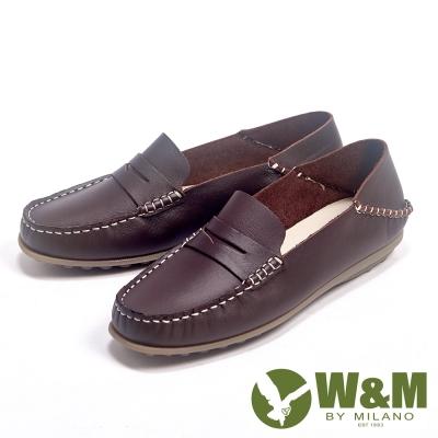 W&M 新款經典可踩式雙穿可水洗柔軟防滑鞋底豆豆女鞋-咖