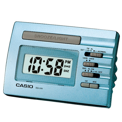 CASIO 數字小型電子鬧鐘(藍、灰)