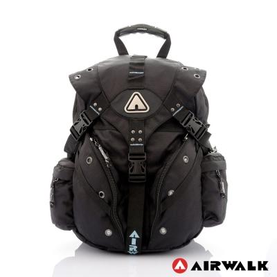 AIRWALK-美式潮流三叉扣尼龍大後背包-小水藍