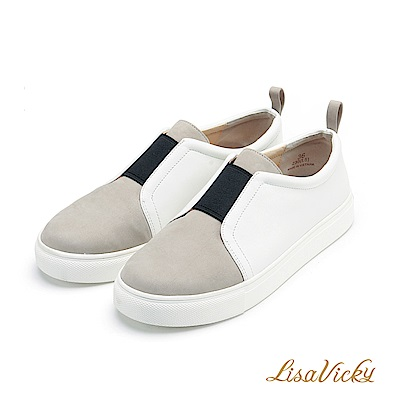 LisaVicky 超柔軟羊皮雙色鬆緊帶親子休閒懶人便鞋-白