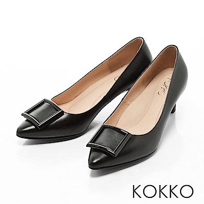KOKKO- 都會尖頭方扣真皮舒壓高跟鞋 -經典黑