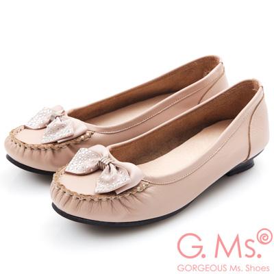 G.Ms. MIT系列-燙鑽蝴蝶結莫卡辛低跟鞋-粉紅
