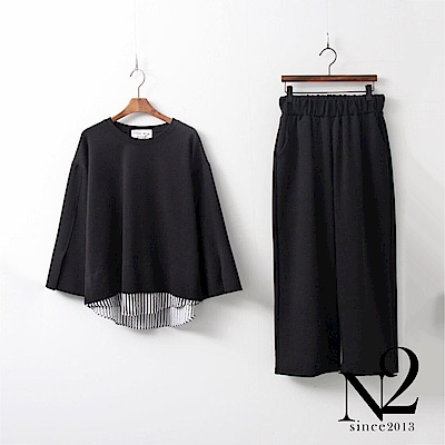 套裝 正韓圓領假兩件上衣+鬆緊帶九分褲休閒套裝(條紋黑)N2