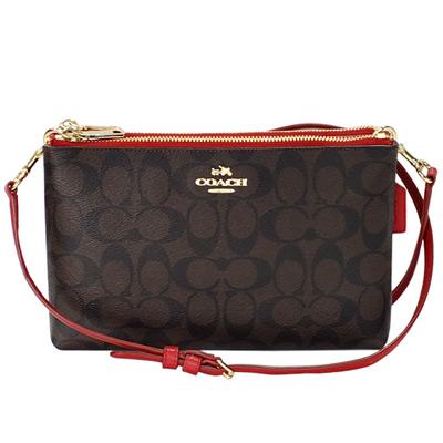 COACH深咖啡C-Logo拼紅色皮革雙層拉鍊袋手抓-斜背小包
