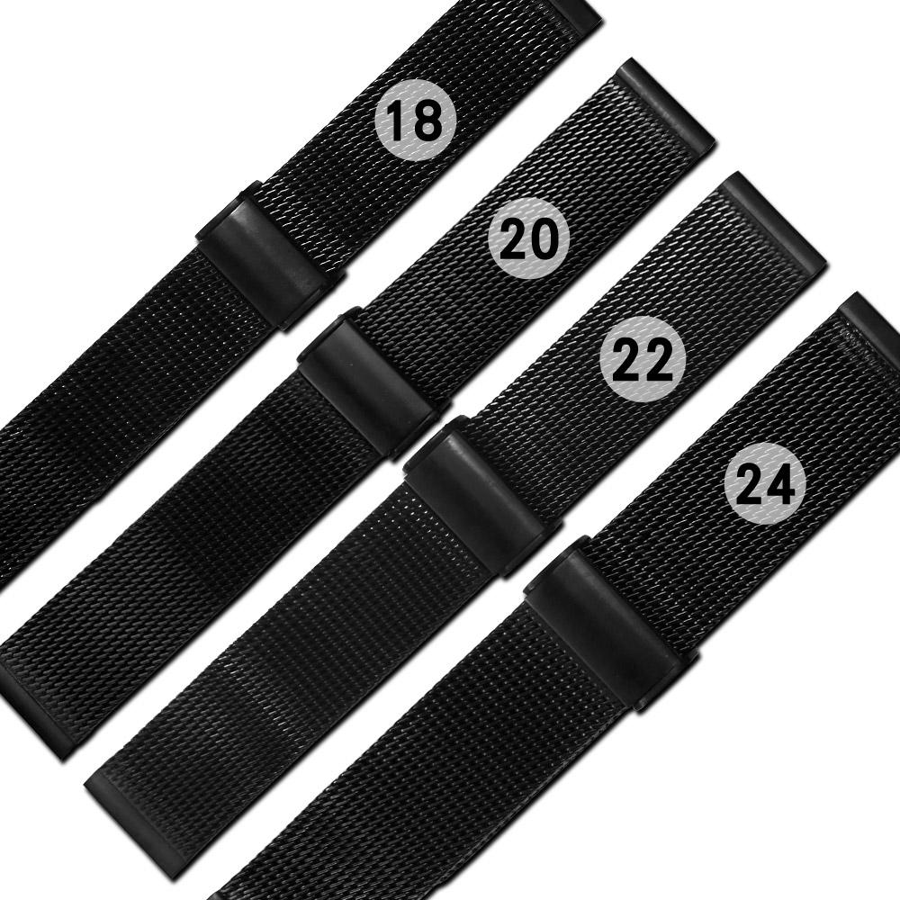 Watchband / 各品牌通用快拆型穿壓扣米蘭編織不鏽鋼錶帶-黑色
