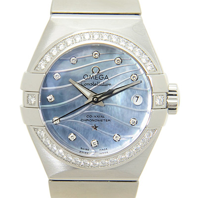 OMEGA 歐米茄Constellation 星座系列波紋藍色珍珠貝母機械腕錶-27mm