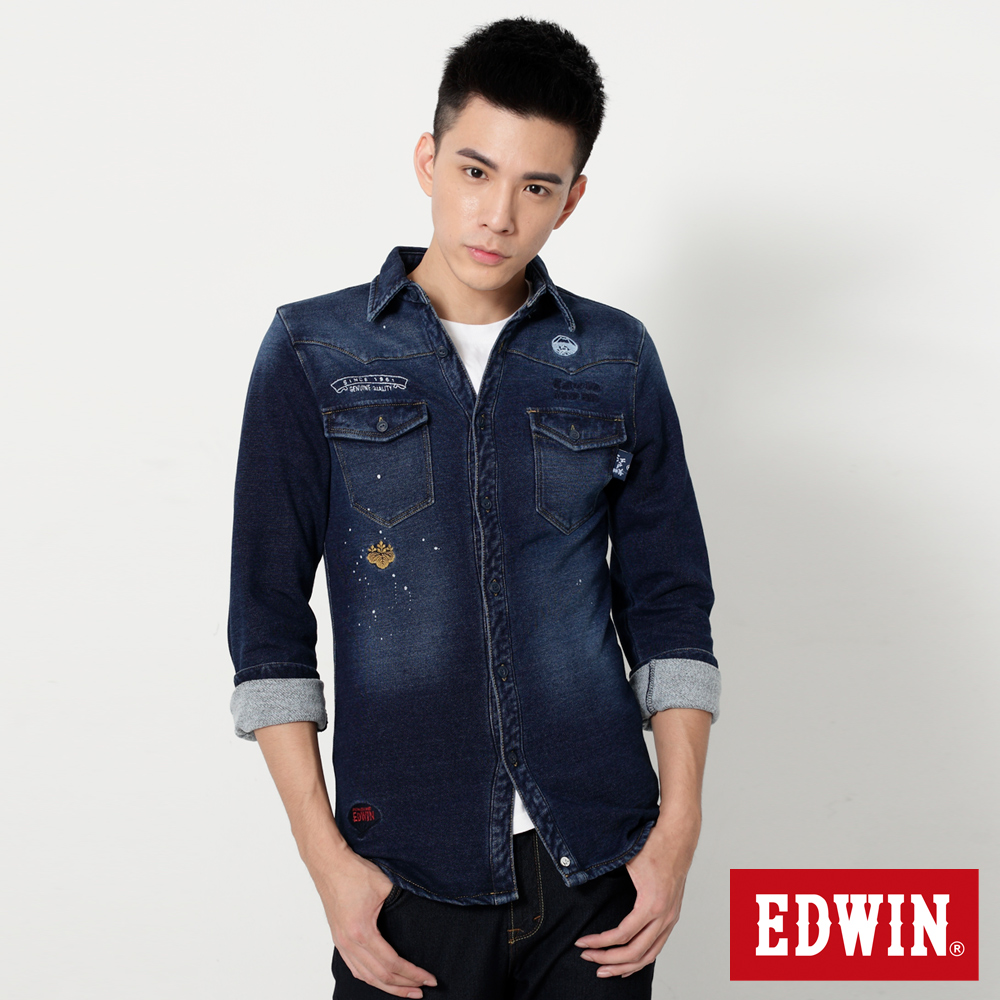 EDWIN  江戶勝 INDIGO潑漆厚長袖襯衫-男-拔洗藍